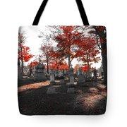Red Fall Graveyard Tote Bag