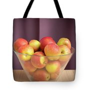 Red Green Apples In A Glass Bowl Tote Bag