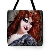 Red Hair, Gothic Mood. Model Sofia Metal Queen Tote Bag