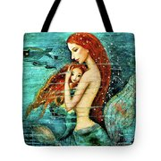Red Hair Mermaid Mother And Child Tote Bag