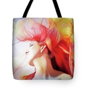Red Hair With Bubbles Tote Bag
