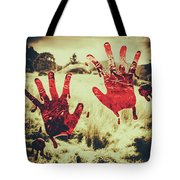 Red Handprints On Glass Of Windows Tote Bag