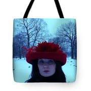 Red Hat On A Blue Day Tote Bag