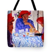 Red Hatters Chatter Tote Bag