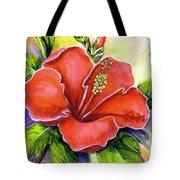 Red Hawaii Hibiscus Flower #301 Tote Bag