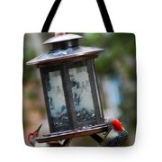 Red Head Wood Peckers On Feeder Tote Bag