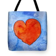 Red Heart On Blue Tote Bag