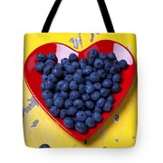 Red Heart Plate With Blueberries Tote Bag