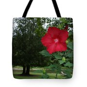 Red Hibiscus Highlights A Scene On The River Tote Bag