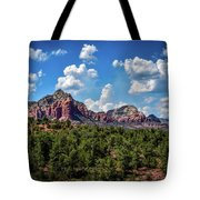 Red Hills And Green Tress Tote Bag