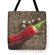 Red Hot Peppers On Wooden  Cutting Board Tote Bag