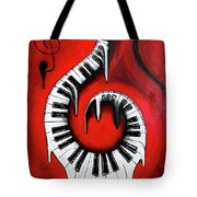 Red Hot - Swirling Piano Keys - Music In Motion Tote Bag
