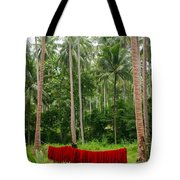Red In The Jungle Tote Bag