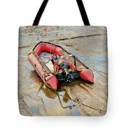 Red Inflatable Boat With Motor In Musselburgh Haven. Tote Bag
