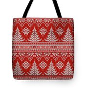 Red Knitted Winter Sweater Tote Bag