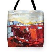 Red Landscape Tote Bag