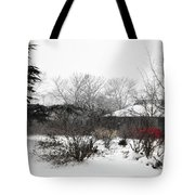 Red Leaves On White Snow Tote Bag