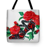 Red Leopard Roses Tote Bag