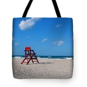 Red Life Guard Chair Tote Bag