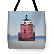 Red Lighthouse At The Sandy Point State Park Tote Bag