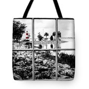 Red Lighthouse Tote Bag by Randy Sylvia