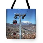 Red Line Cable Cars And Mt Illimani La Paz Bolivia Tote Bag