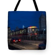 Red Line Train Rumbling Over The Longfellow Bridge In Boston Ma Tote Bag