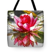 Red Lotus Flower Tote Bag