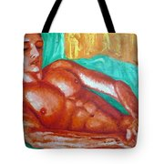 Red Man In Bed Tote Bag