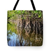 Red Mangrove Roots Reflections In The Gordon River Tote Bag