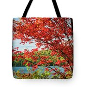 Red Maple On Lake Shore Tote Bag