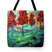 Red Maples On Green Hills With Name And Title Tote Bag