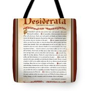 Red Matted Floral Scroll Desiderata Poem Tote Bag