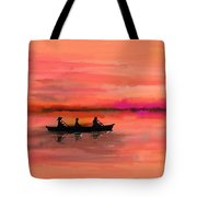 Red Morning Spin Tote Bag