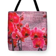 Red Orchids On Linen Zen Tote Bag