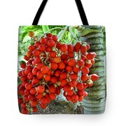 Red Palm Tree Fruit Tote Bag