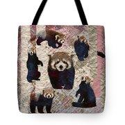 Red Panda Abstract Mixed Media Digital Art Collage Tote Bag