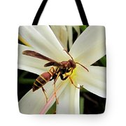 Red Paper Wasp And Spider Lily 001 Tote Bag