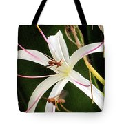 Red Paper Wasps And Spider Lily Tote Bag