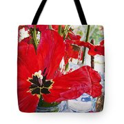 Red Party Flowers IIi Tote Bag