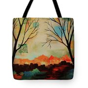 Red Tree Path Tote Bag