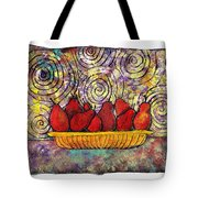 Red Pears In A Bowl Tote Bag