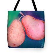 Red Pears On Blue Green Tote Bag