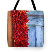 Red Peppers And Blue Door Tote Bag
