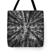 Red Pine Tree Tops In Black And White Tote Bag