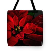 Red Poinsettia Happy Holidays Card Tote Bag