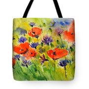Red Poppies And Cornflowers Tote Bag