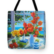 Red Poppies And Green Apples Tote Bag