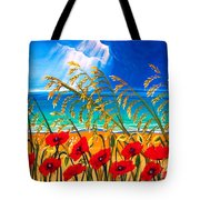 Red Poppies And Sea Oats By The Sea Tote Bag