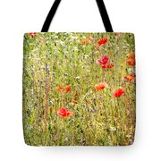 Red Poppies And Wild Flowers Tote Bag